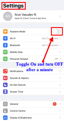 Airplane Mode in iPhone Settings