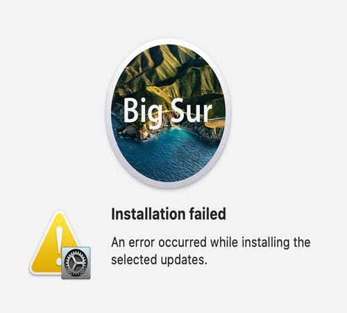 Unable to install Big sur on MacBook pro