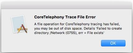 CoreTelephony Trace File error
