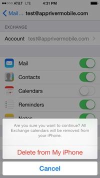 Delete exisitng account