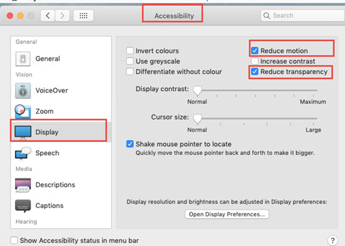Display settings on mac