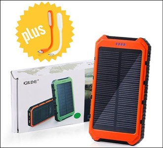 GRDE 10000mAh Solar iPhone Power Bank
