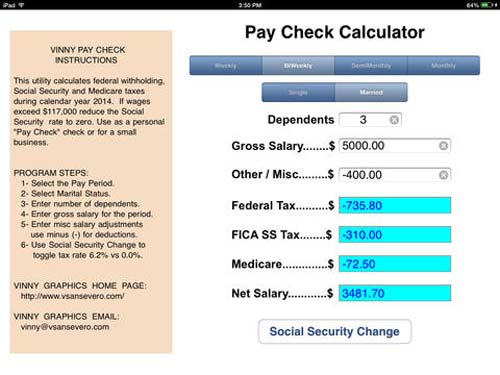Pay Check HD iPad App