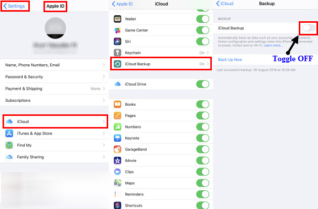 Toggle Off iCloud Backup