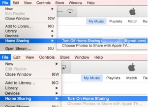 turn off and on home sharing iTunes