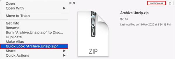 Uncompress files