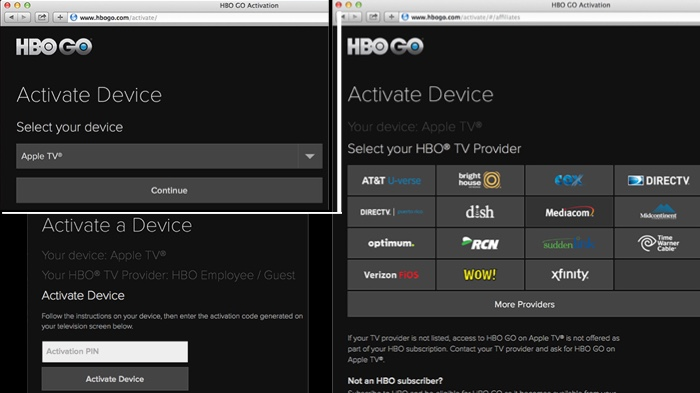 Apple TV activate HBO Go