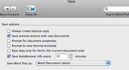 auto save interval word mac