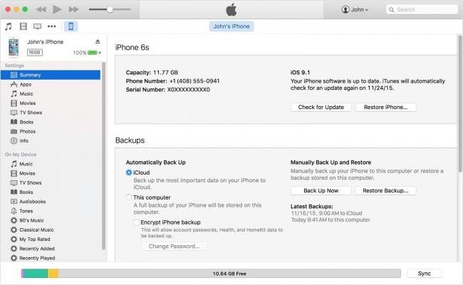 backup iPhone iTunes