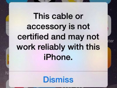 Cable accessory is not certified