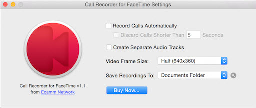 call recorder for FaceTime settings