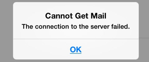Cannot get mail the connection to the server failed