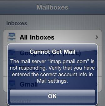 """Cannot Get Mail The mail server """"imap.gmail.com"""" is not responding."""