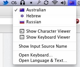 change keyboard language OS X Mountain Lion