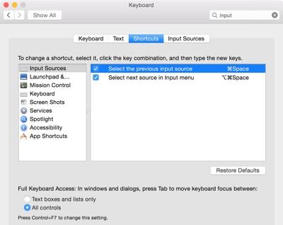 Change the keyboard language in Mac