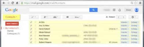 contacts in gmail account