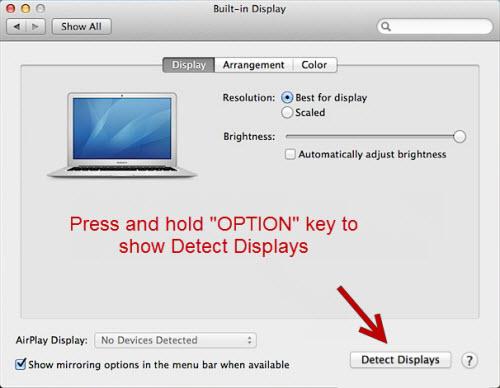 Detect Displays Mac