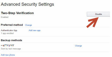 disable-2 step-verification- security- settings