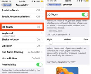 disable 3D touch on iPhone