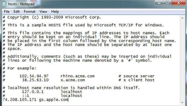 error 3194 hosts file