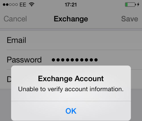 exchange account : unable to verify account information