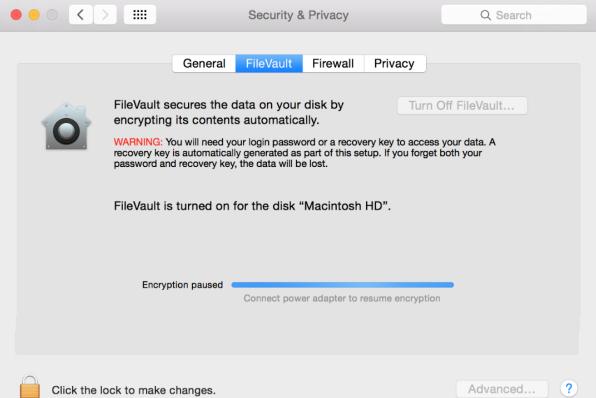 Filevault stuck on Encryption Paused
