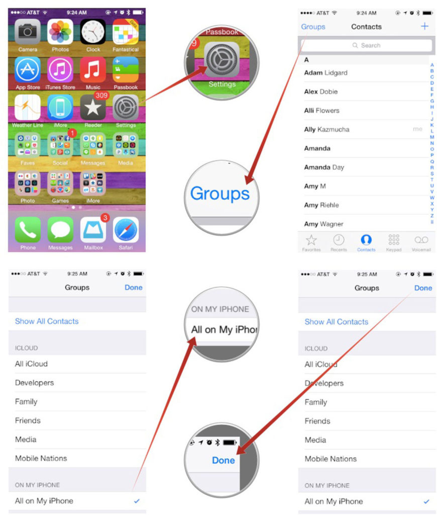 find missing contacts iPhone