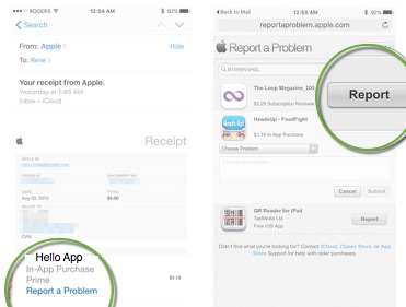 get refund for itunes store purchase from iphone