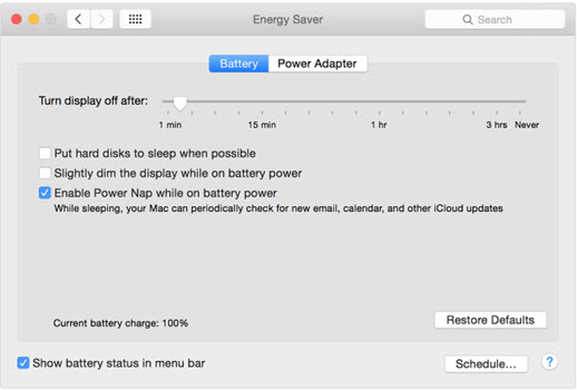 how to turn off power nap on mac