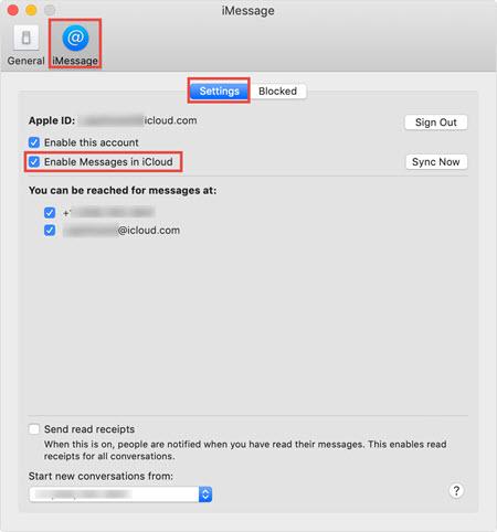 iMessage in iCloud settings