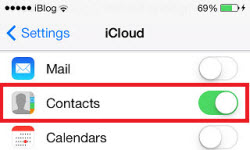 iCloud contacts settings iPhone