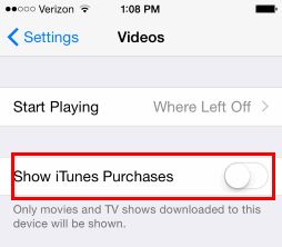 iOS show iTunes purchases