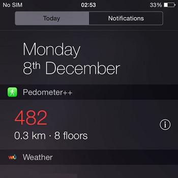 iPhone 6 pedometer widget