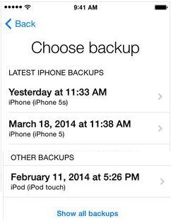 iPhone choose backup