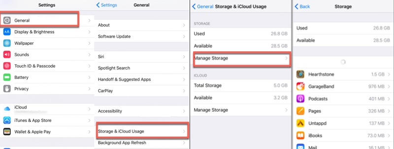 iPhone manage storage delete app