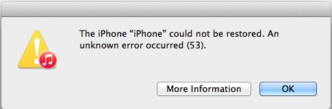 iPhone restore error 53 in iTunes