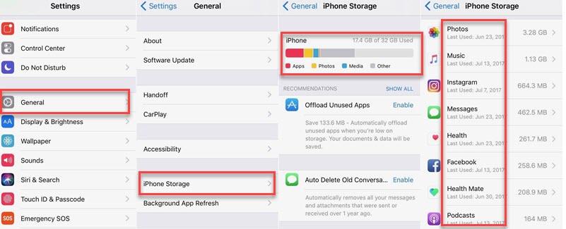 iphone storage settings