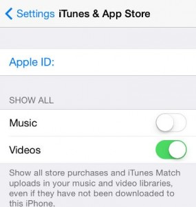 iPhone iTunes & App store music switch