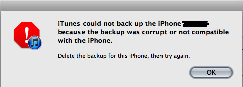 iTunes could not back up the iPhone