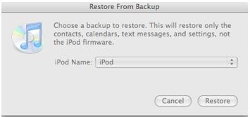iTunes restore from Backup Mac