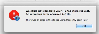 iTunes unknown error 4010