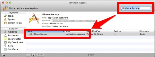Keychain access iPhone backup password