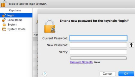 keychain enter password