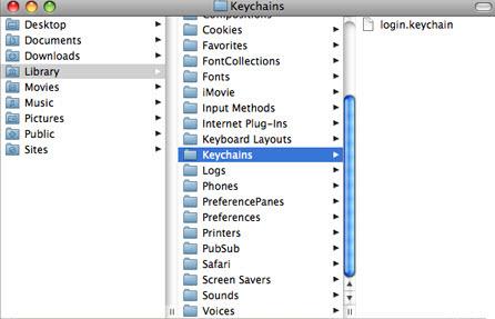key chain login using Finder