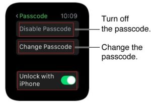 lock Apple Watch with passcode