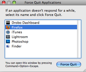 Mac: force quit applications