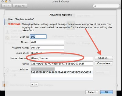 Mac user folder location preference