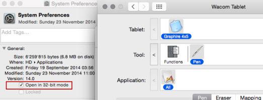OS X Yosemite system preferences Wacom tablet