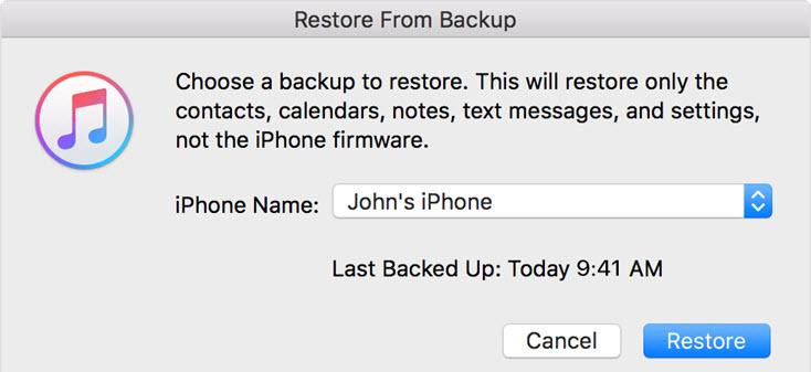 restore iphone x itunes