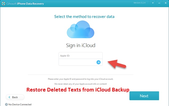 restore deleted texts from icloud backup